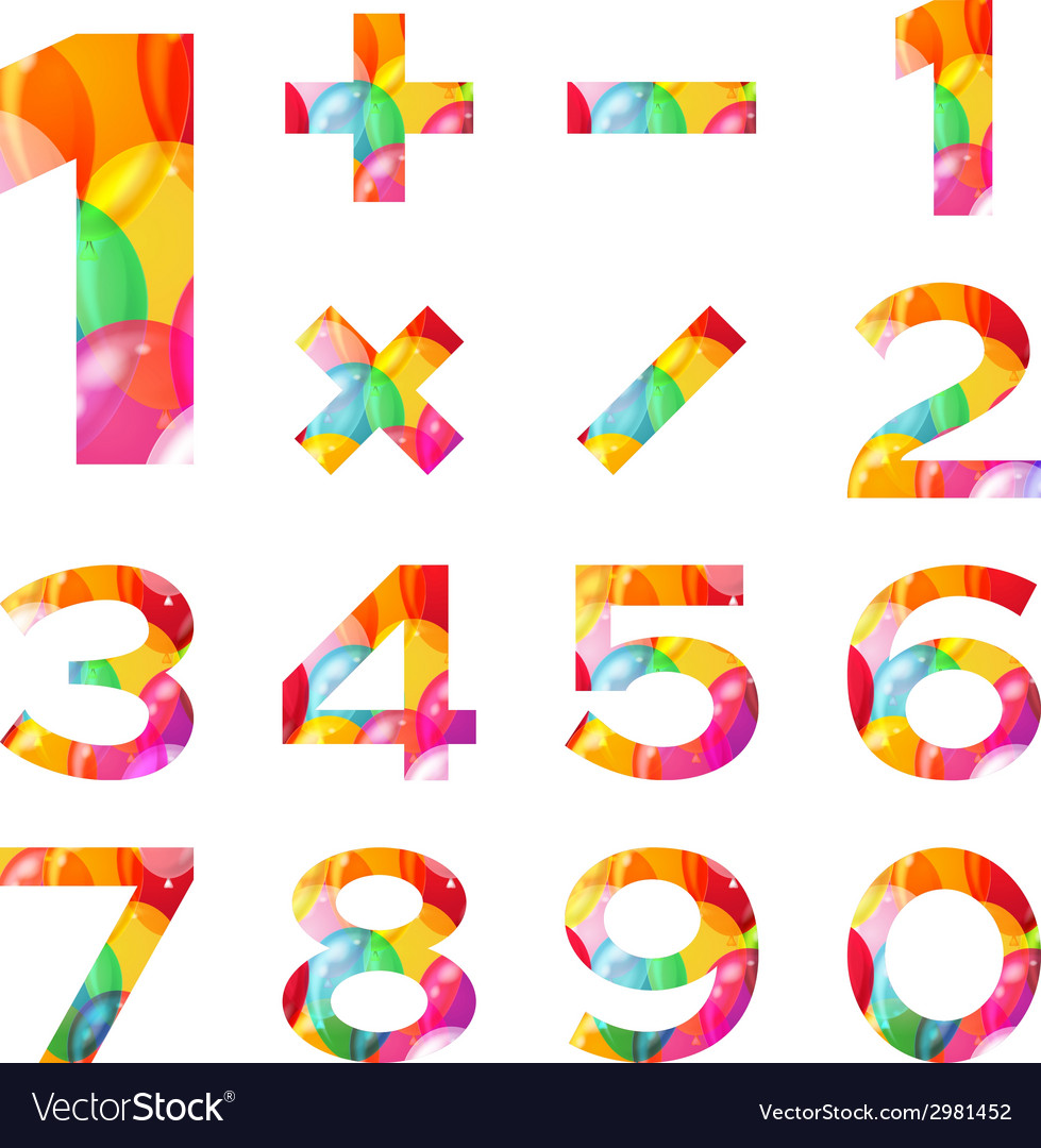 Numbers set colorful balloons vector | Price: 1 Credit (USD $1)