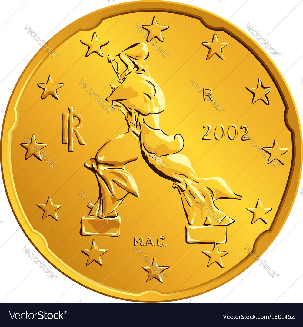 Obverse italian money gold euro coin vector | Price: 1 Credit (USD $1)