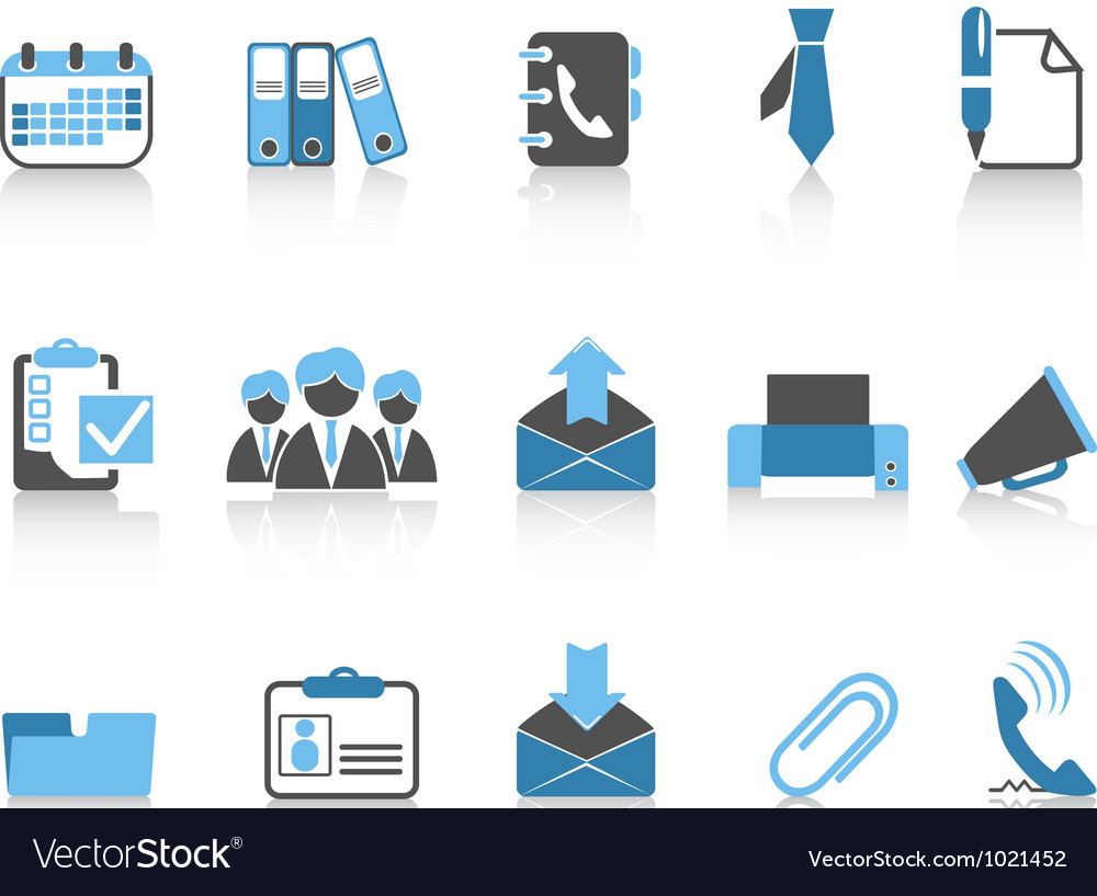 Office and business icons blue series vector | Price: 1 Credit (USD $1)