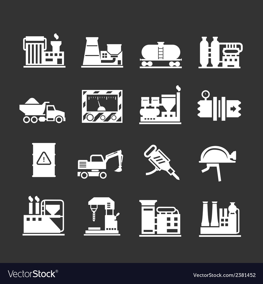 Set icons of industrial and factory vector | Price: 1 Credit (USD $1)
