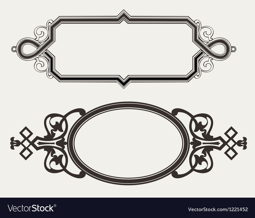 Two vintage ornate engraving frames vector | Price: 1 Credit (USD $1)