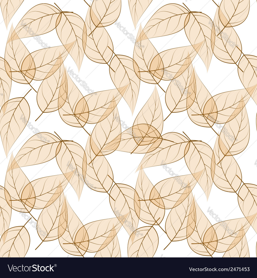 Beige leaves seamless pattern vector | Price: 1 Credit (USD $1)