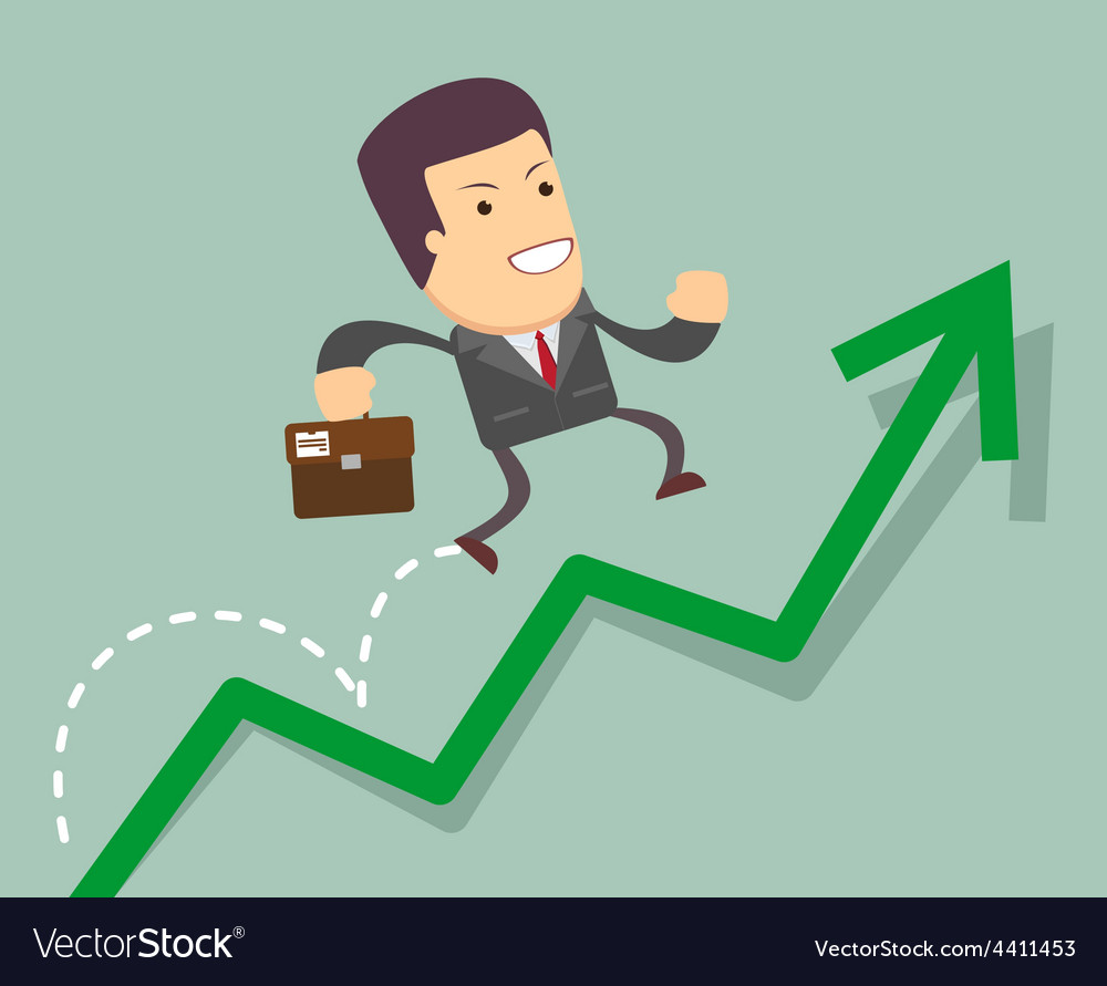 Businessman jump over growing chart vector | Price: 1 Credit (USD $1)