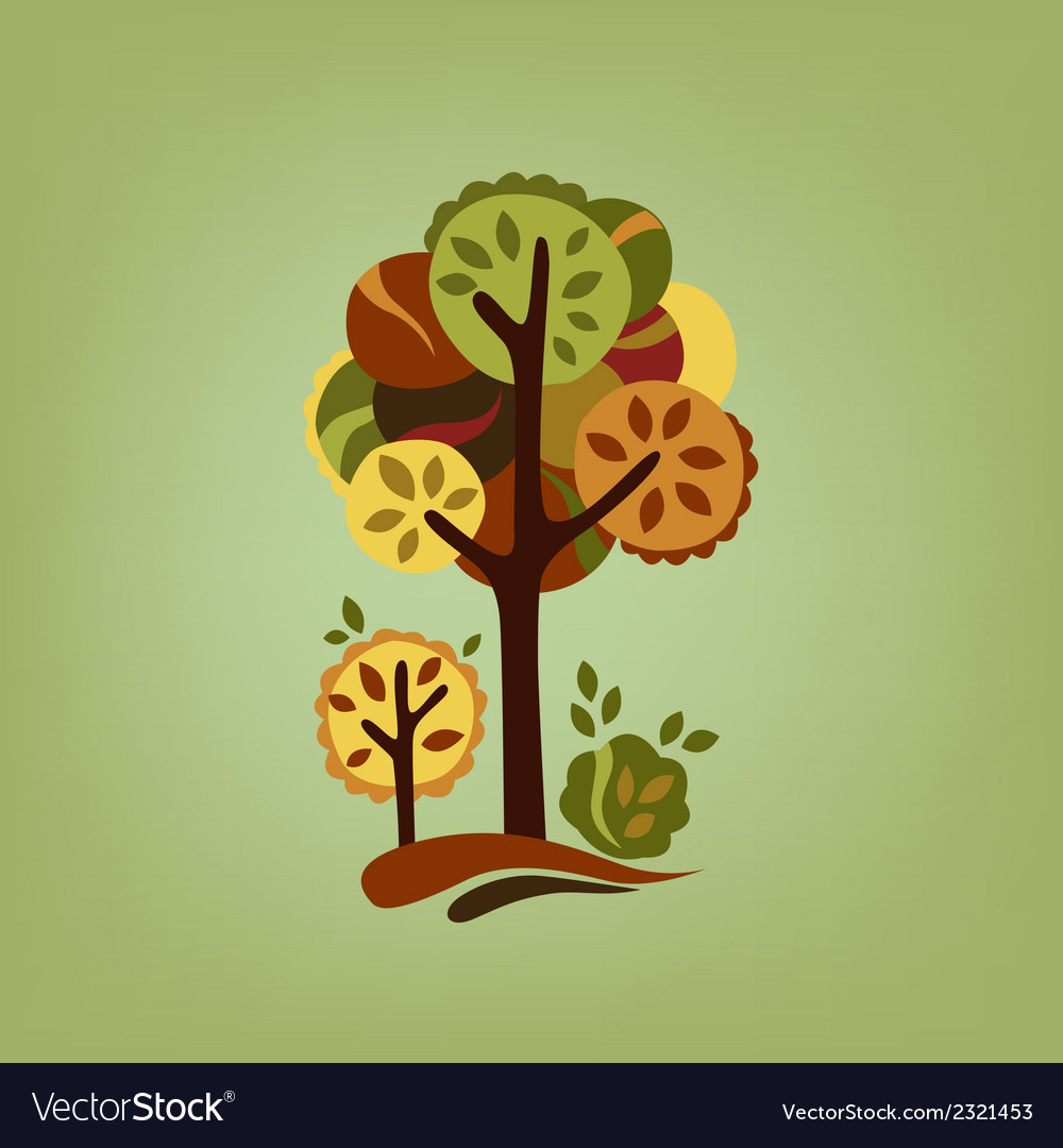 Card with stylized autumn trees vector | Price: 1 Credit (USD $1)