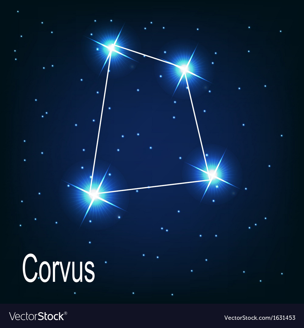 The constellation corvus star in the night sky vector | Price: 1 Credit (USD $1)