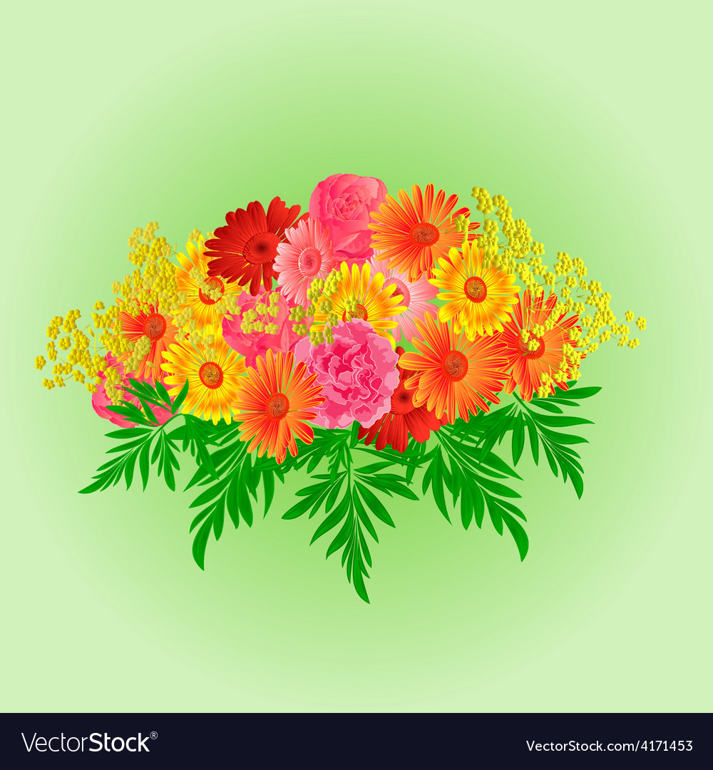 Festive bouquet gerbera and roses green background vector | Price: 1 Credit (USD $1)
