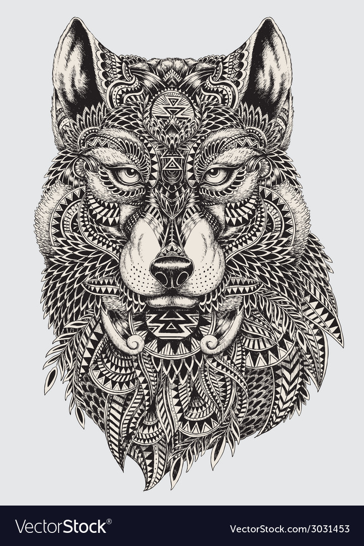 Highly detailed abstract wolf vector | Price: 5 Credit (USD $5)