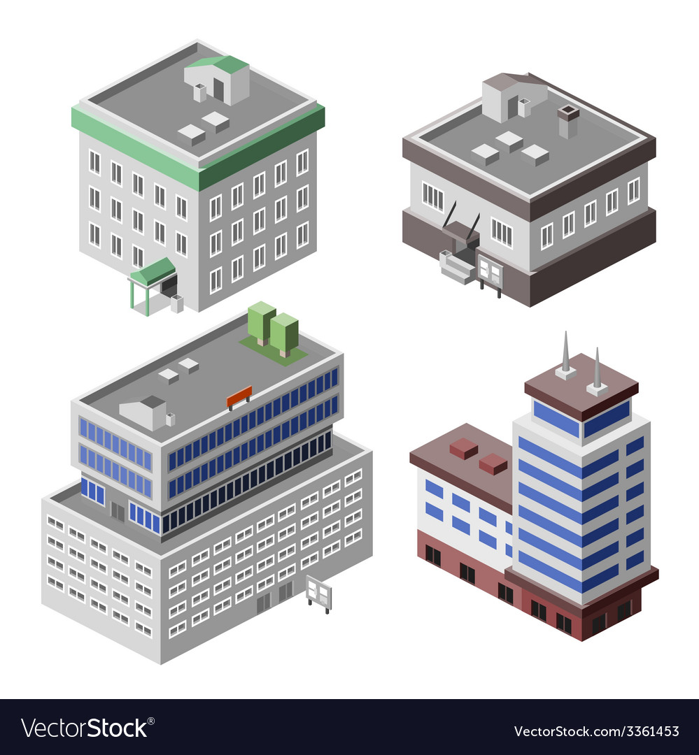 Office buildings isometric vector | Price: 1 Credit (USD $1)