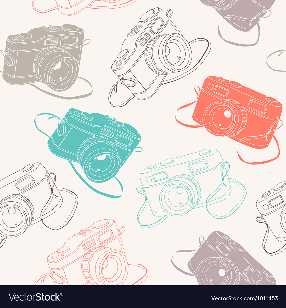 Photo cameras seamless pattern vector | Price: 1 Credit (USD $1)