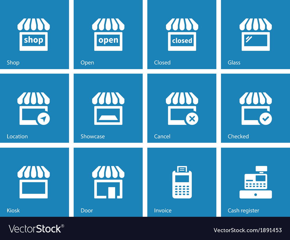 Shop icons on blue background vector | Price: 1 Credit (USD $1)