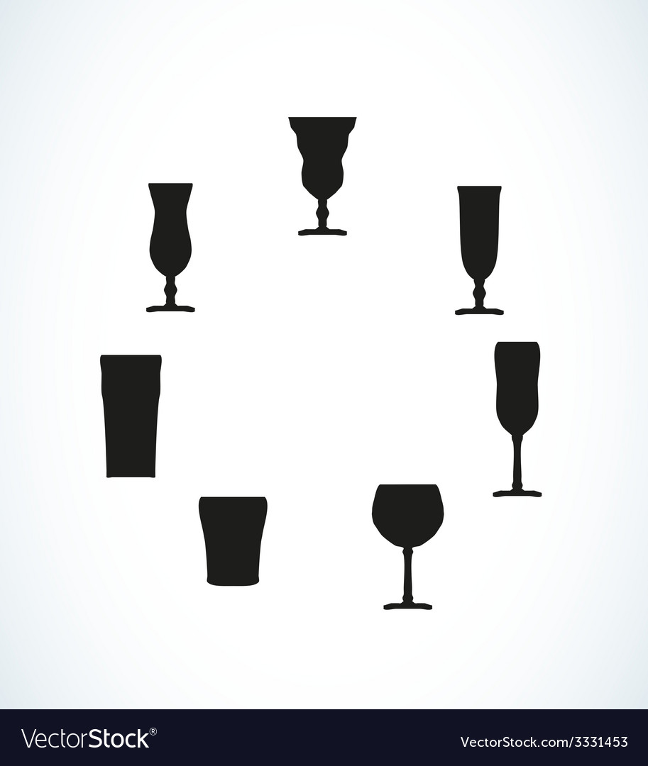 Silhouettes of glasses for water or alcohol vector | Price: 1 Credit (USD $1)