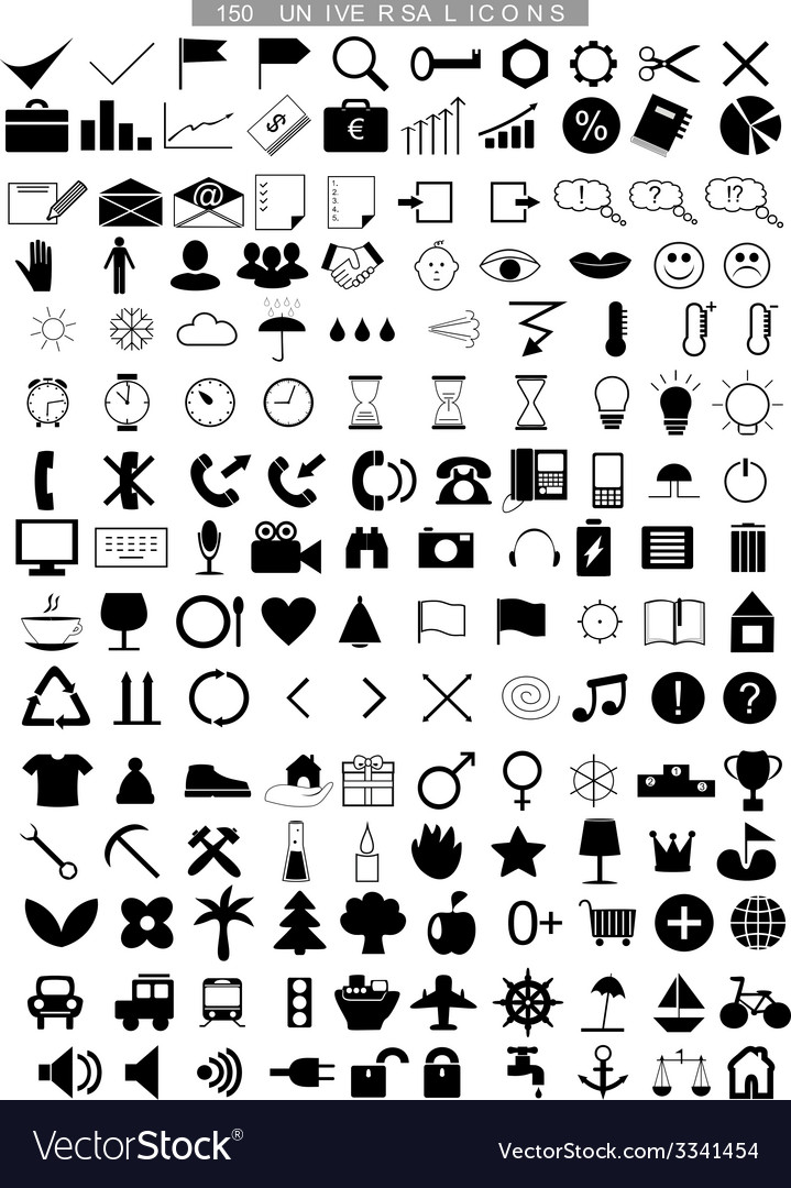 150 universal icons vector | Price: 1 Credit (USD $1)