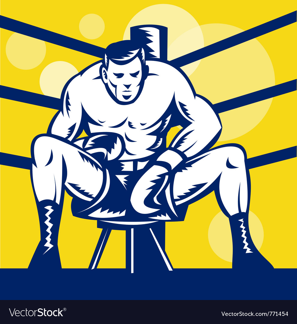 Boxer sitting on corner vector | Price: 1 Credit (USD $1)