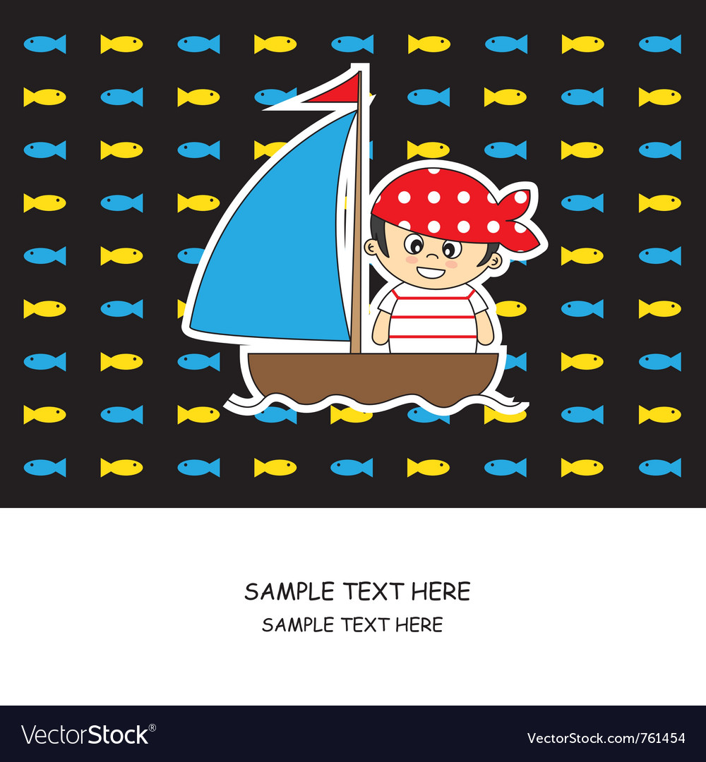 Boy pirate card vector | Price: 1 Credit (USD $1)