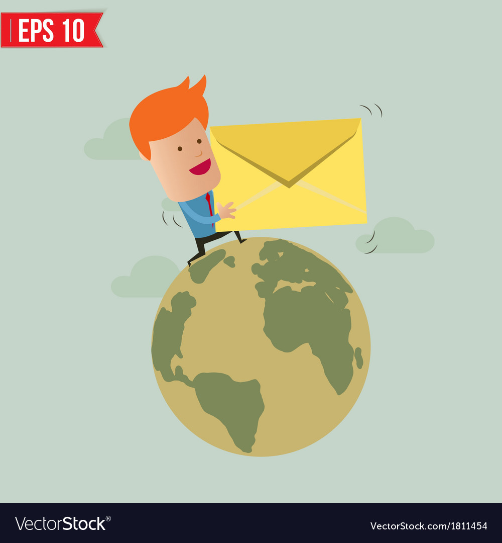 Business man deliver envelope vector | Price: 1 Credit (USD $1)