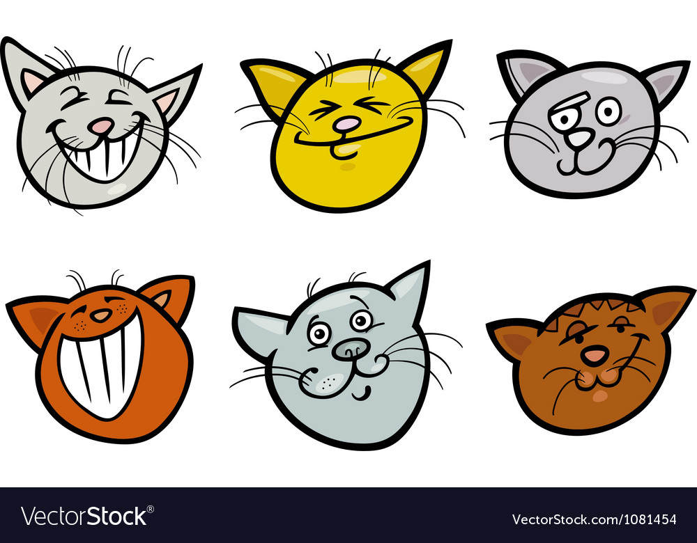 Cartoon funny cats heads set vector | Price: 3 Credit (USD $3)