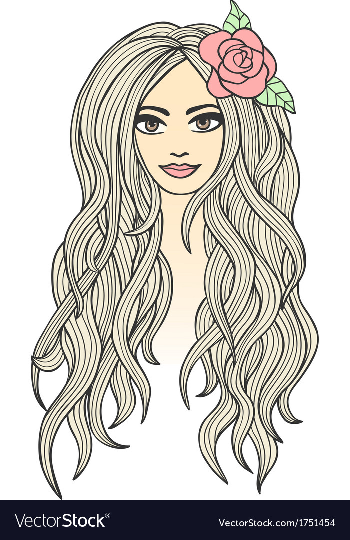 Drawing of a beautiful girl vector | Price: 1 Credit (USD $1)