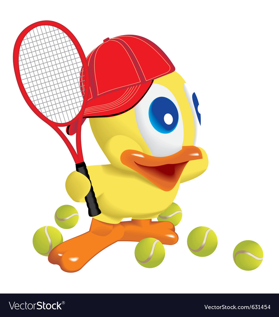 Duck play tennis vector | Price: 1 Credit (USD $1)