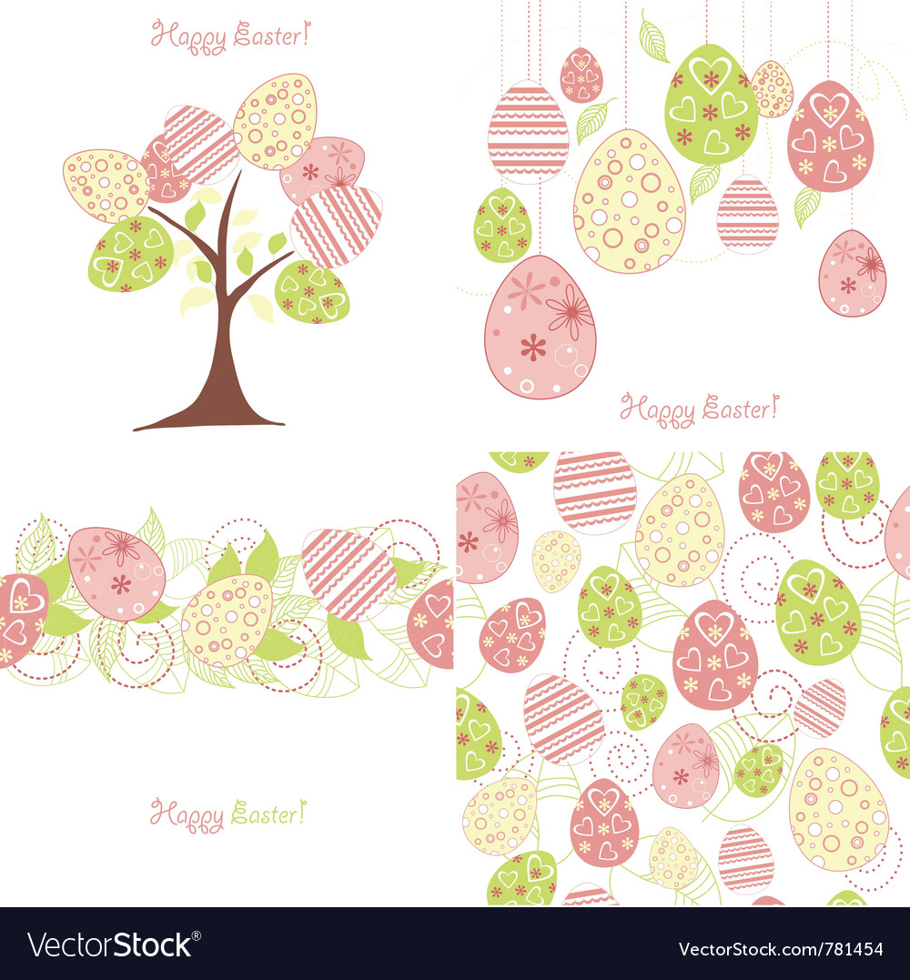 Easter background set vector | Price: 1 Credit (USD $1)
