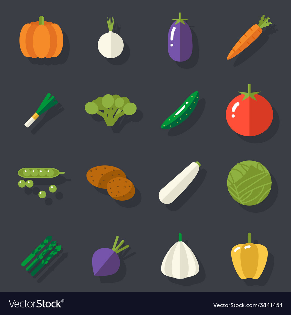Food icons set vegetables symbols healthy and vector | Price: 1 Credit (USD $1)
