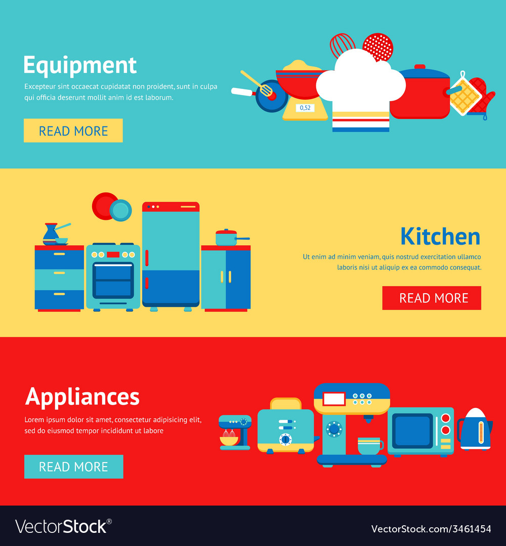 Kitchen banner set vector | Price: 1 Credit (USD $1)