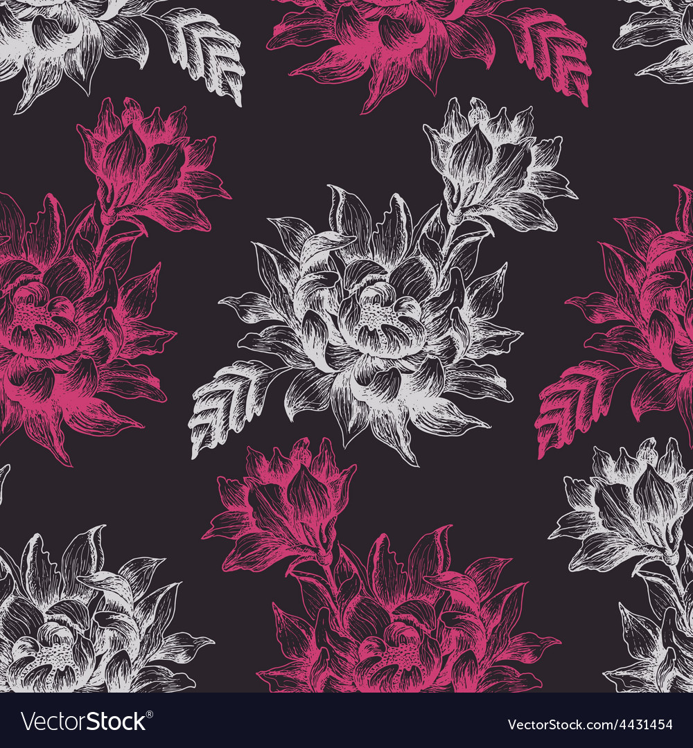 Seamless pattern with pink and white flowers on vector | Price: 1 Credit (USD $1)