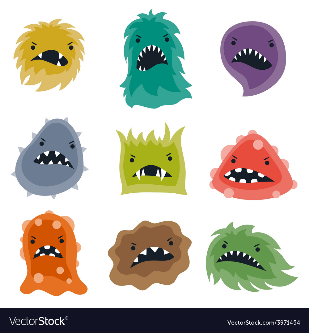 Set of little angry viruses and monsters vector | Price: 1 Credit (USD $1)