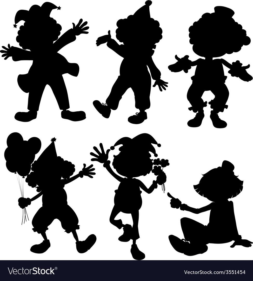 Silhouette clowns vector