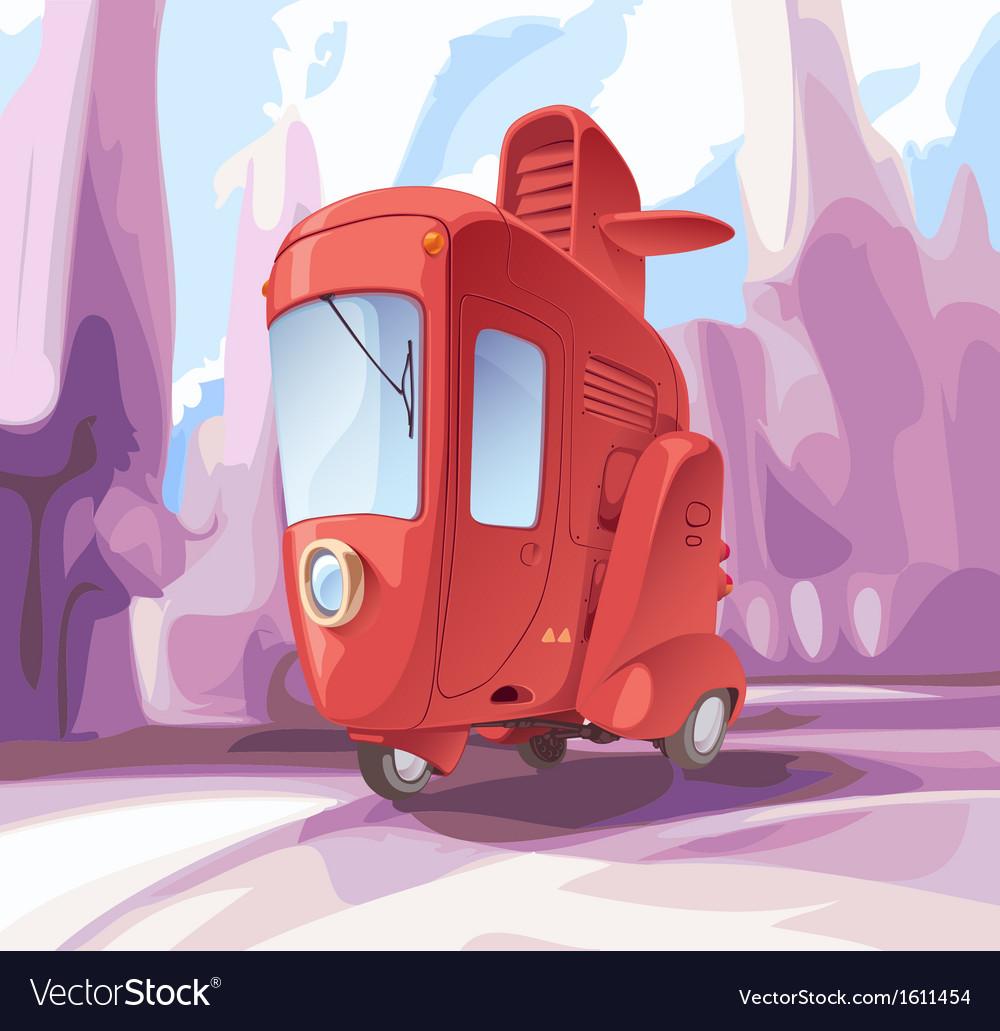 Three-wheeled retro city car vector | Price: 3 Credit (USD $3)