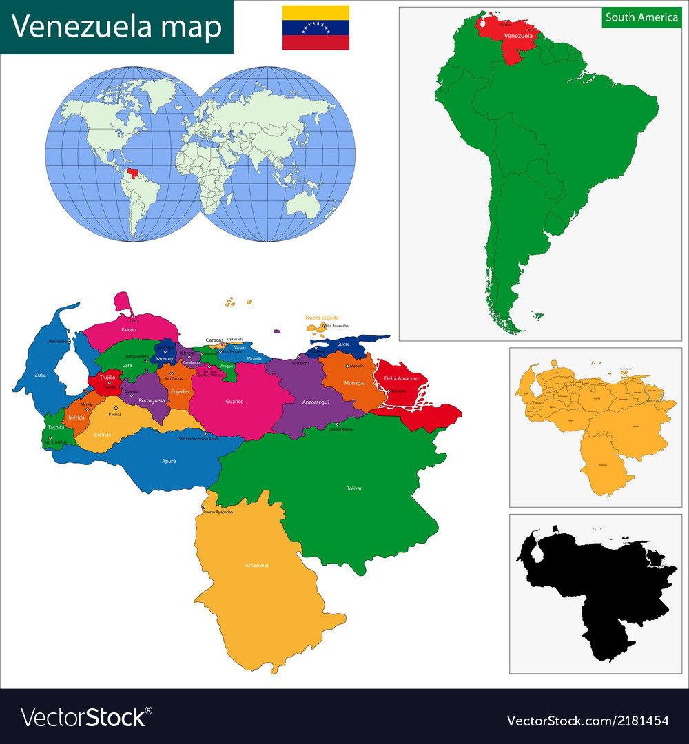 Venezuela map vector | Price: 1 Credit (USD $1)