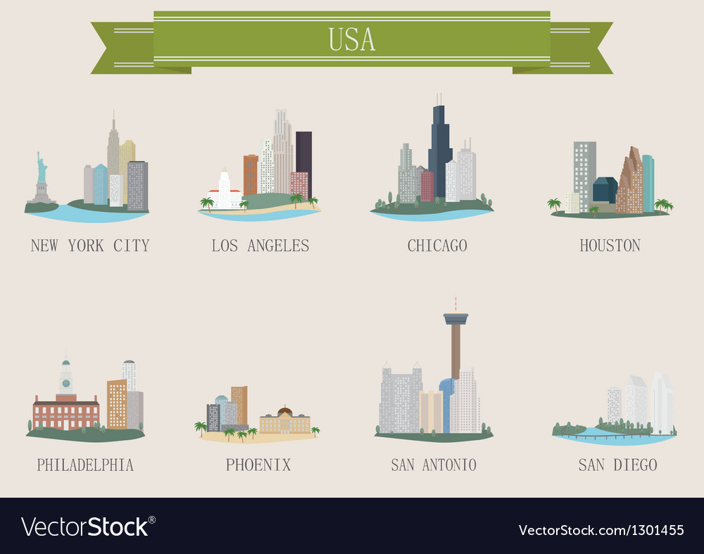 American cities vector | Price: 1 Credit (USD $1)