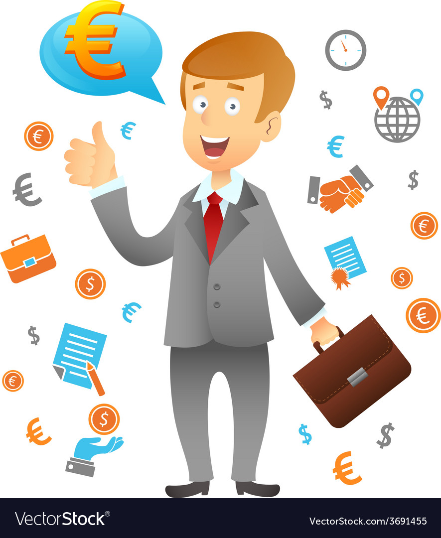 Businessman and business icons vector | Price: 1 Credit (USD $1)