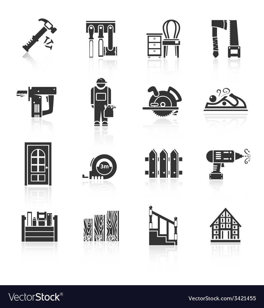 Carpentry icons black vector | Price: 1 Credit (USD $1)