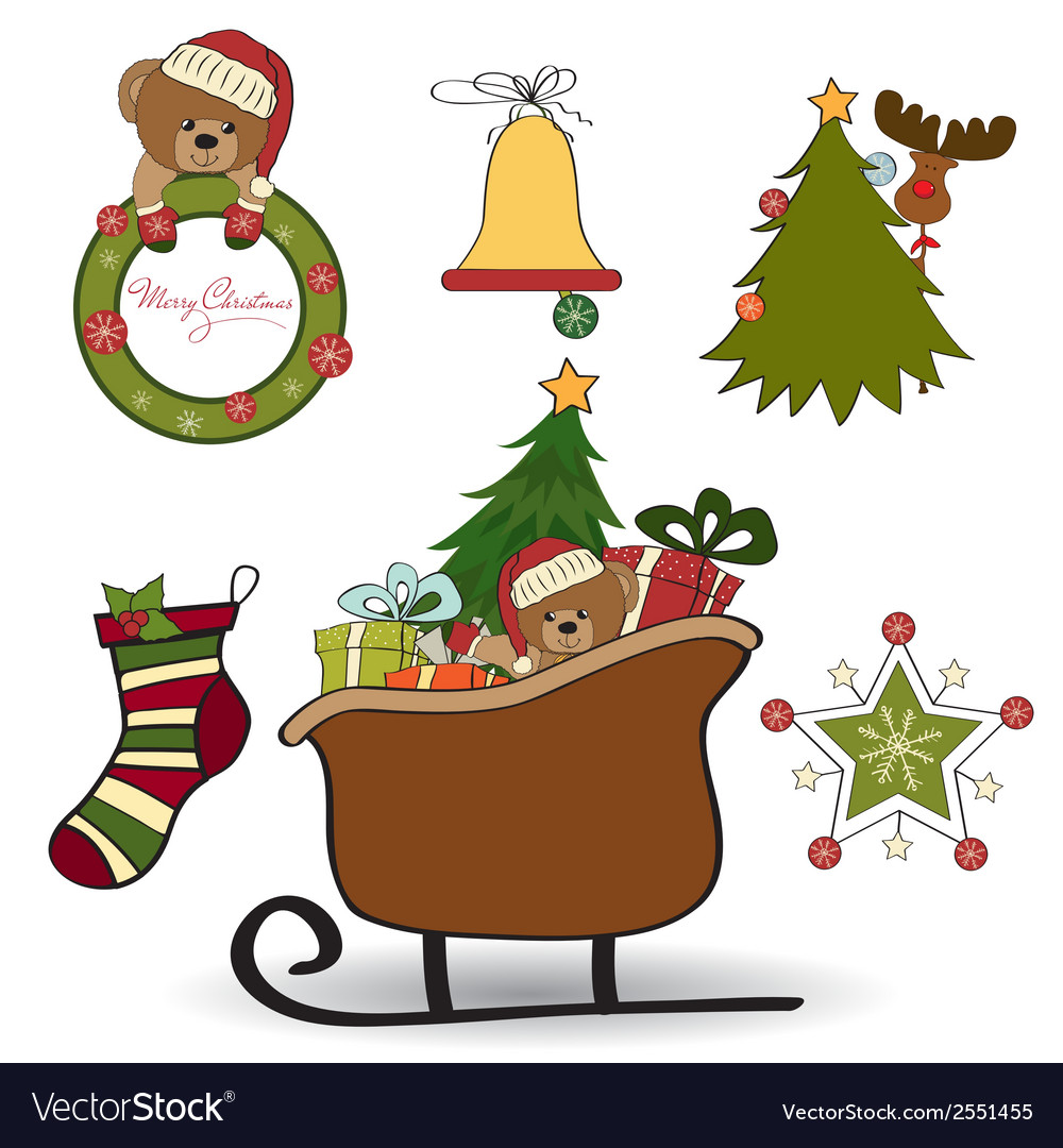 Christmas decoration isolated on white background vector | Price: 1 Credit (USD $1)