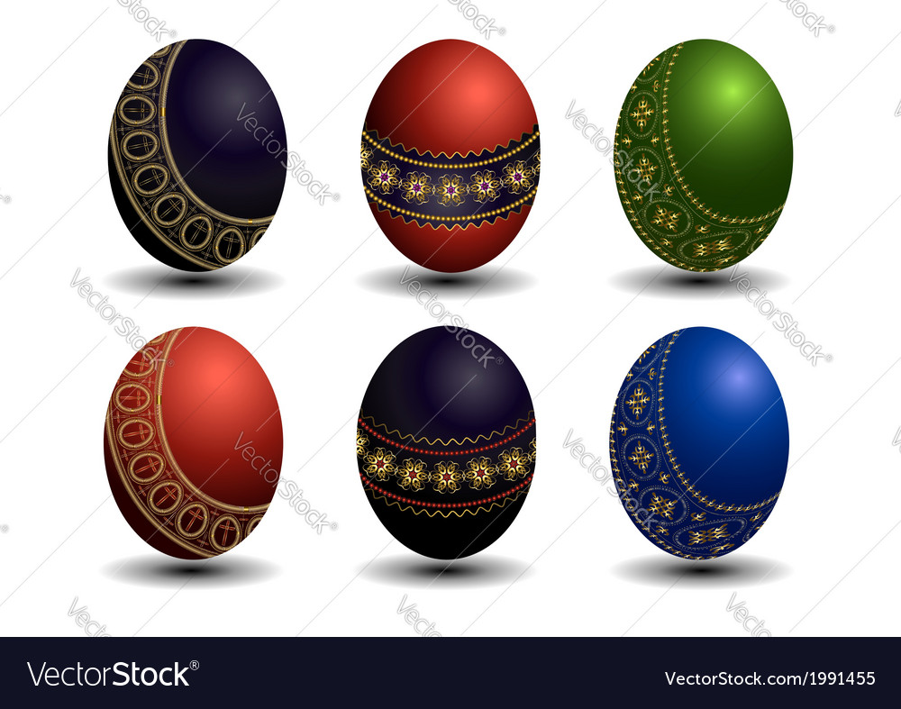 Collection colored easter eggs with gold patterns vector | Price: 1 Credit (USD $1)