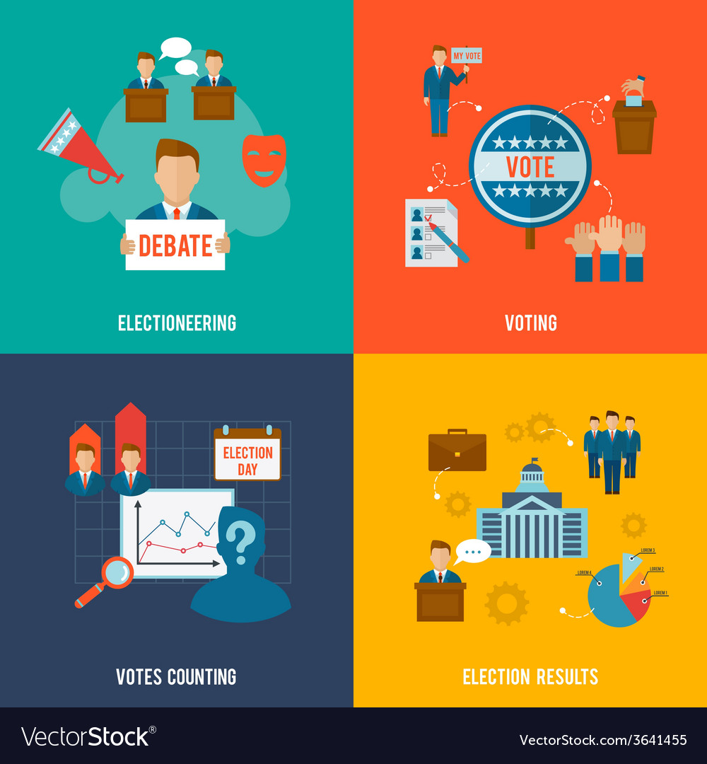 Election flat set vector | Price: 1 Credit (USD $1)
