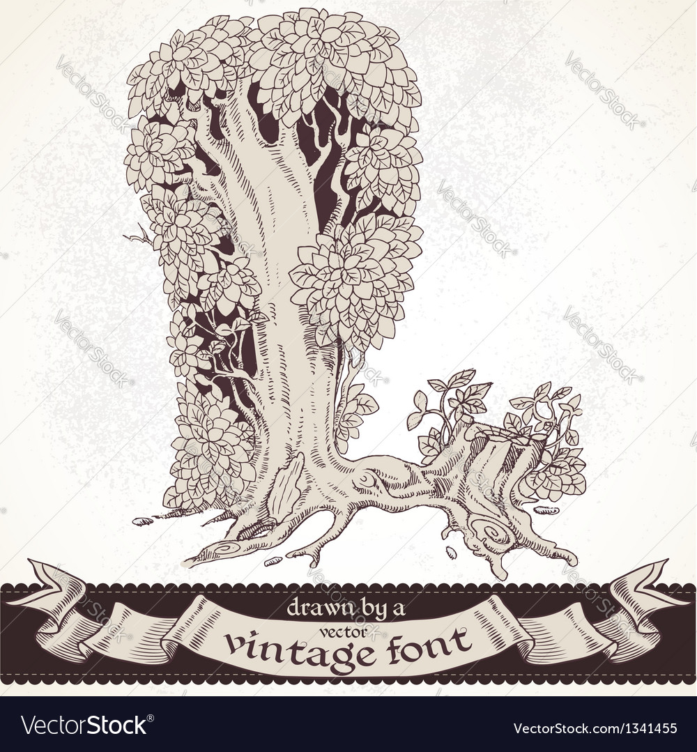 Fable forest hand drawn by a vintage font - l vector | Price: 1 Credit (USD $1)