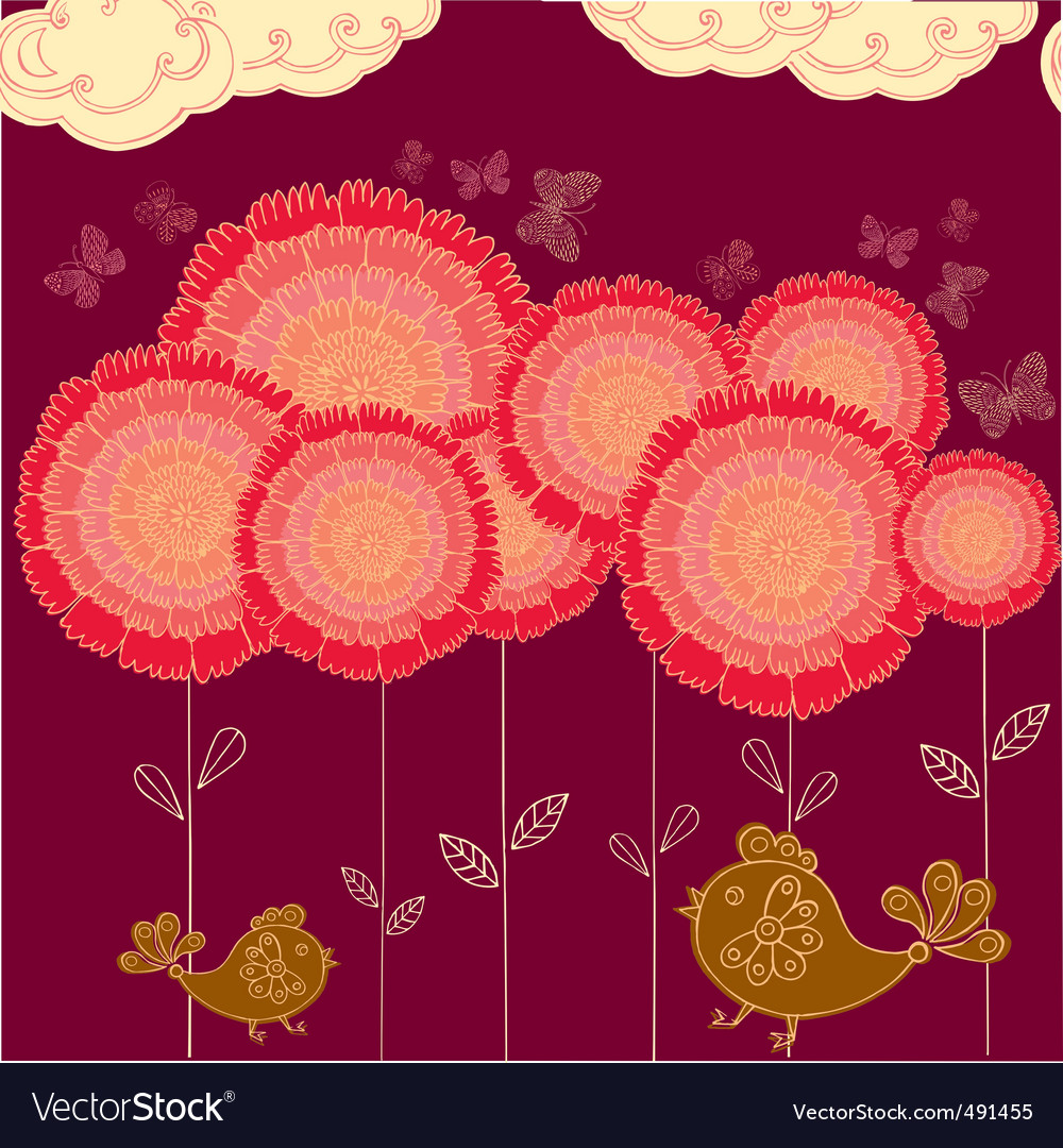 Flower field background vector | Price: 1 Credit (USD $1)