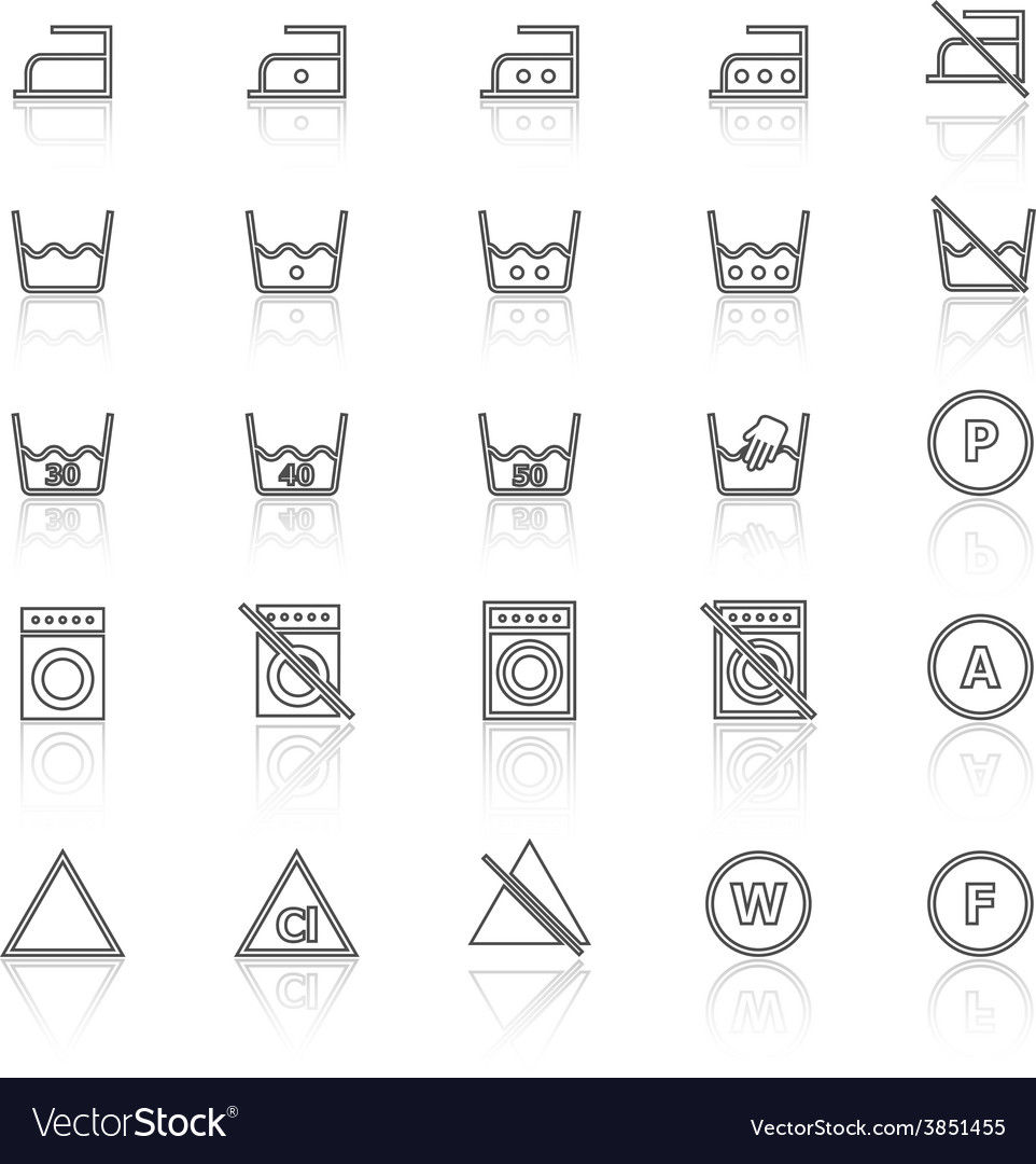 Laundry line icons with reflect on white vector | Price: 1 Credit (USD $1)