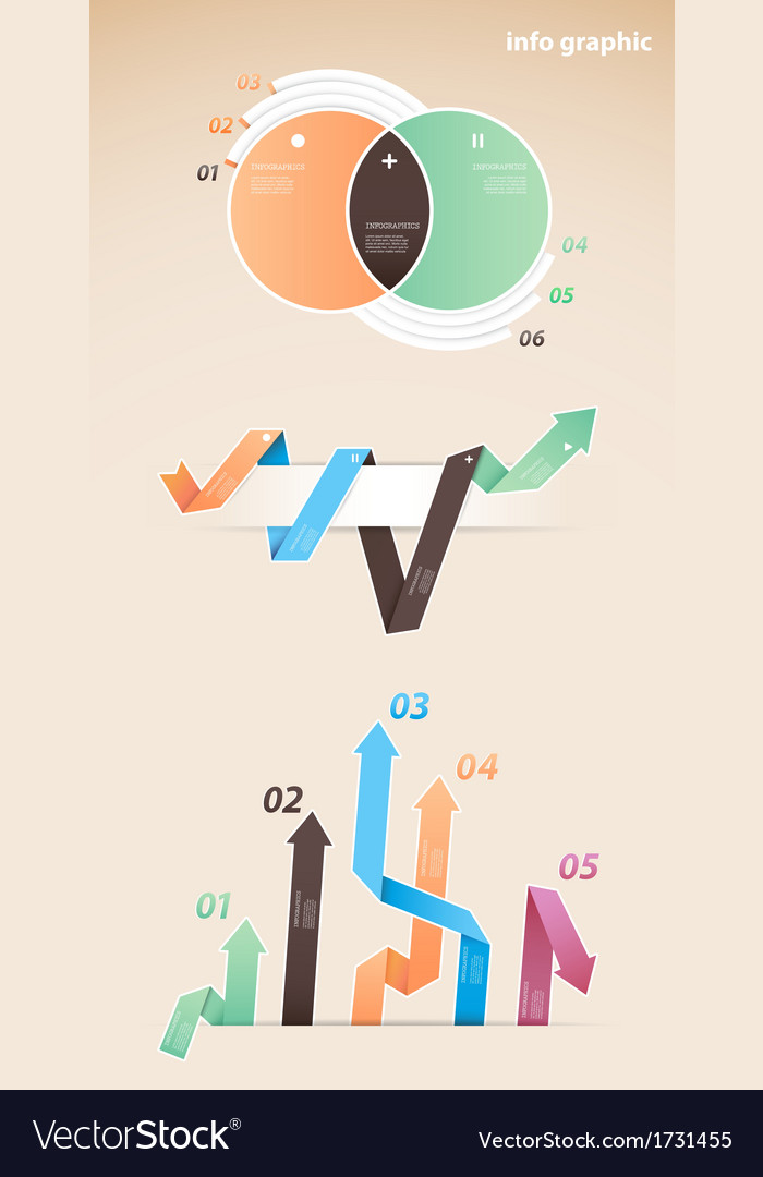 Set of colorful infographic diagrams with arrows vector | Price: 1 Credit (USD $1)