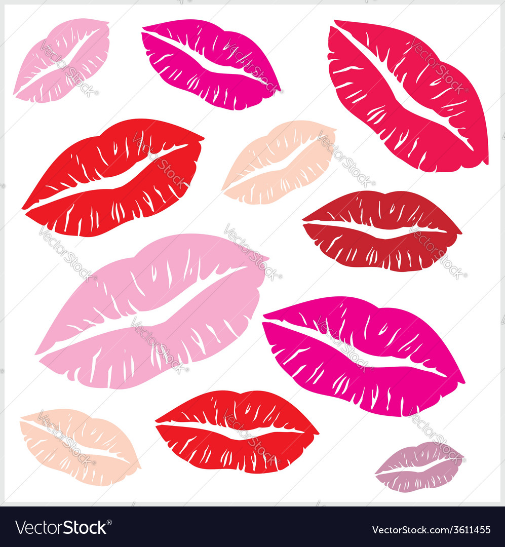 Set of lips print on isolated white background vector | Price: 1 Credit (USD $1)