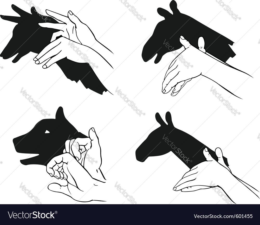 Shadow of hands forming animal head vector | Price: 1 Credit (USD $1)