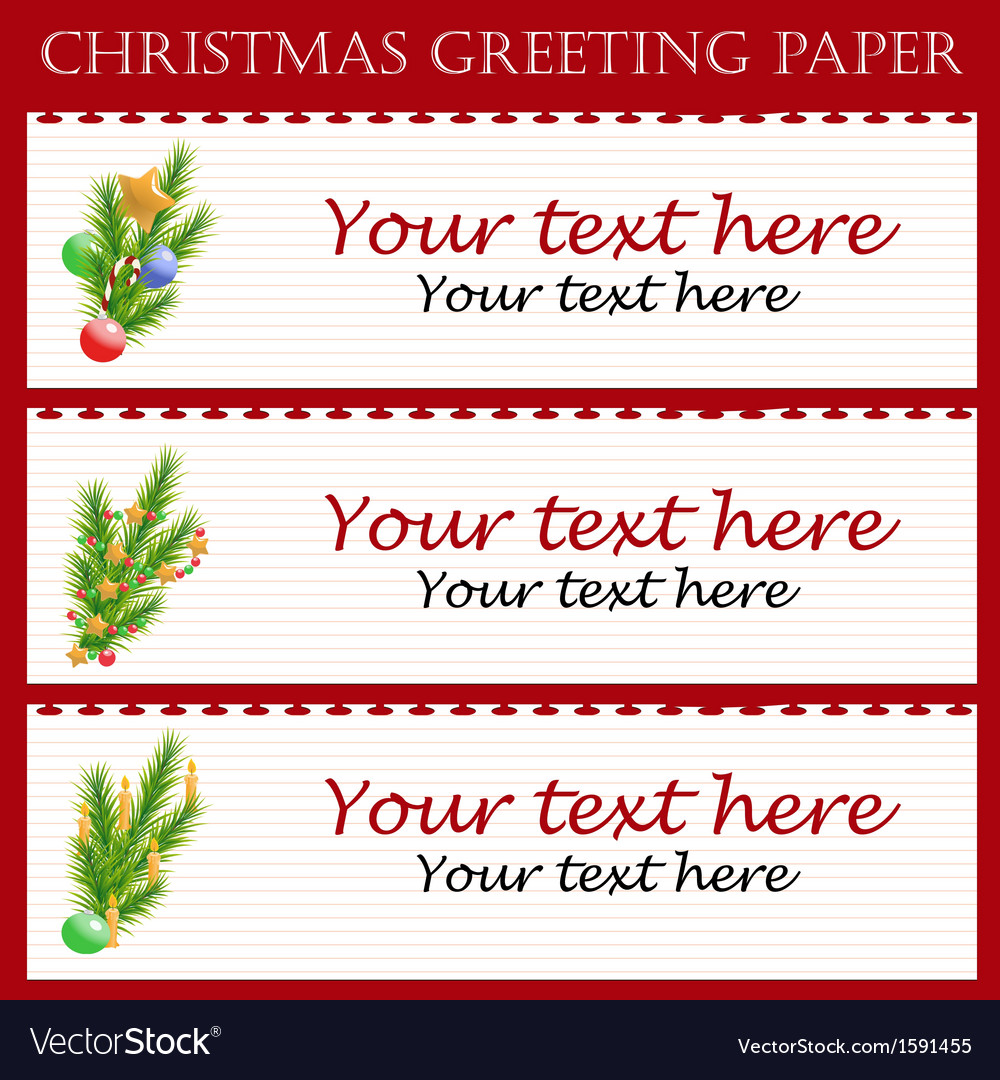Three christmas greeting paper with text vector | Price: 1 Credit (USD $1)