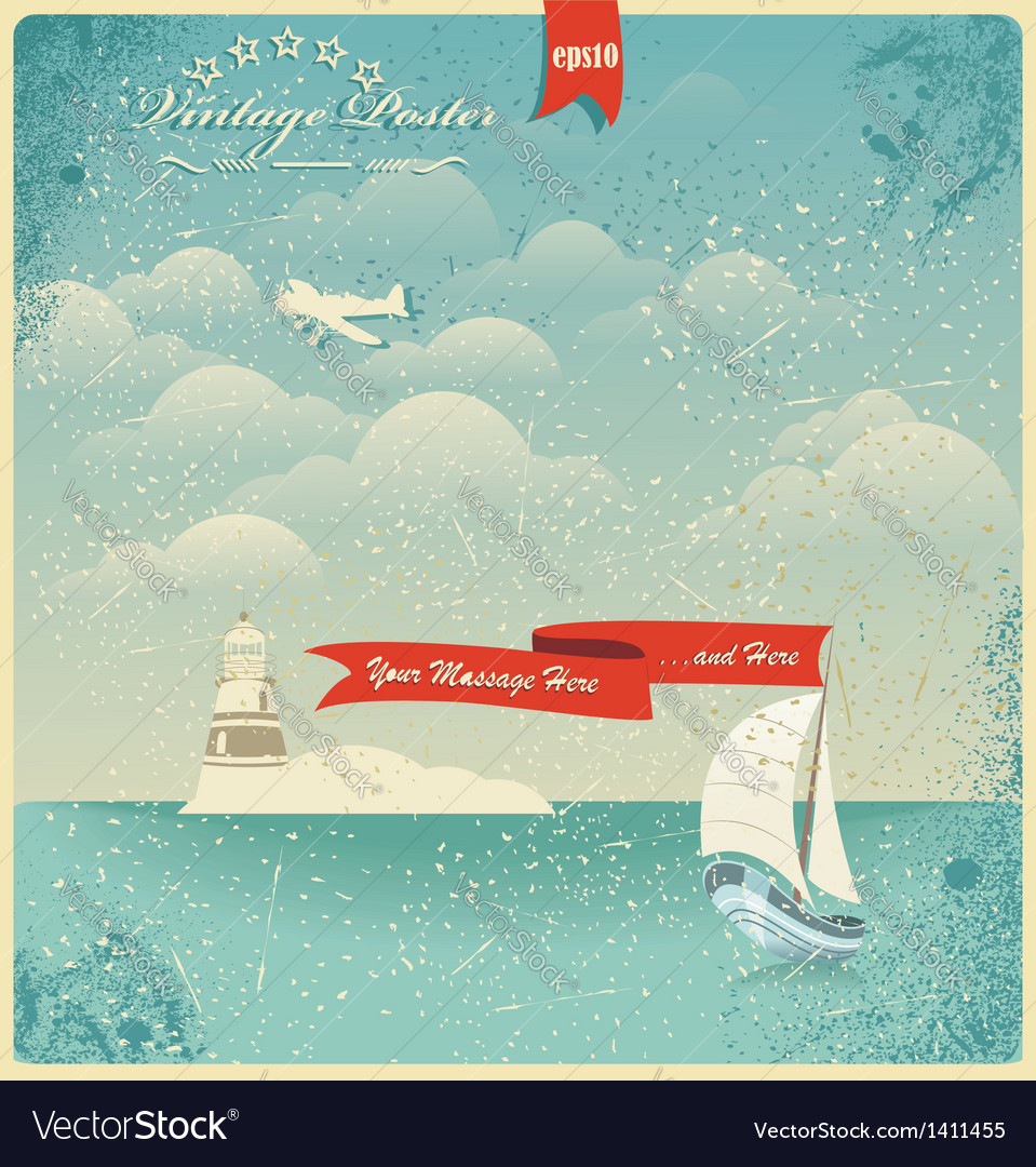 Vintage seaside view poster background vector | Price: 3 Credit (USD $3)