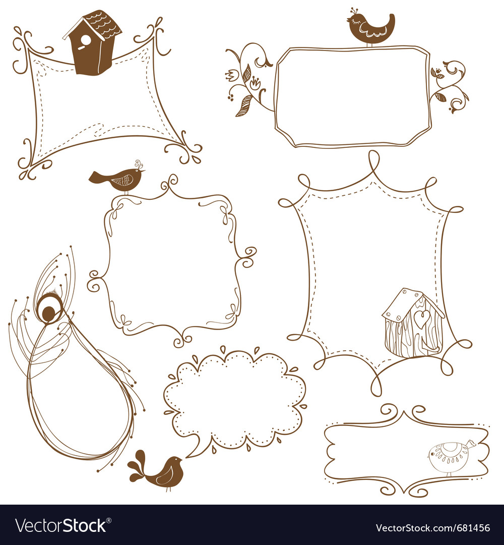 Cute doodle frames vector | Price: 1 Credit (USD $1)