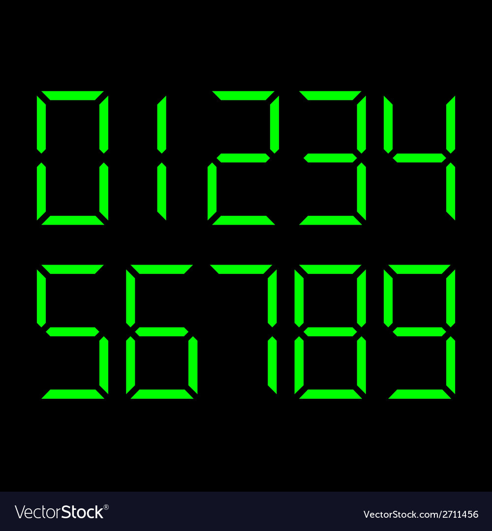 Digital number set vector | Price: 1 Credit (USD $1)