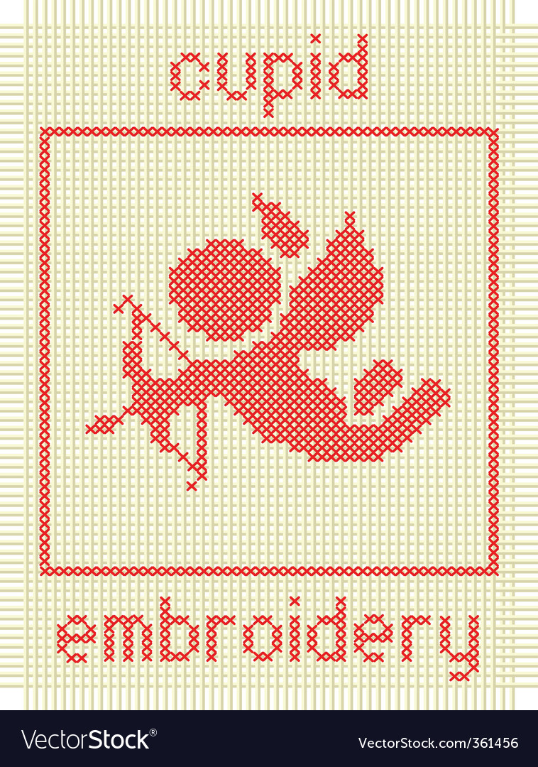 Embroidery with cupid vector | Price: 1 Credit (USD $1)
