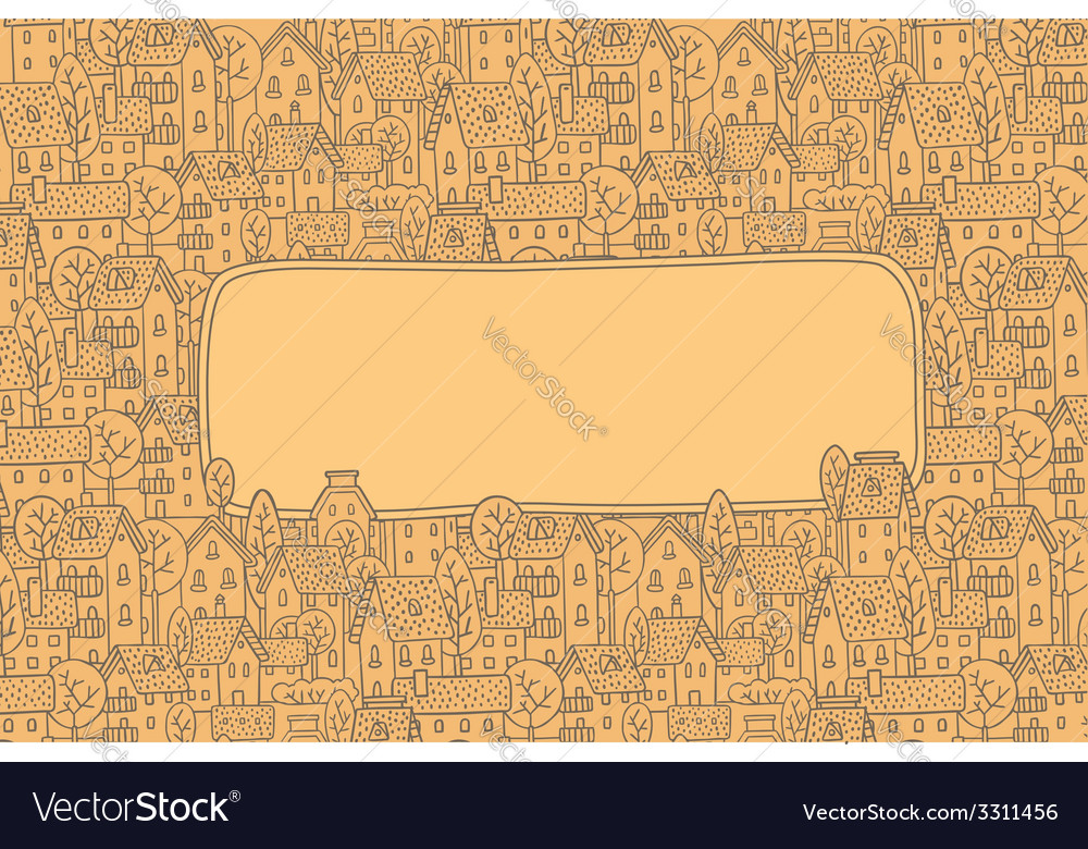 Greeting card with city pattern and a window for vector | Price: 1 Credit (USD $1)