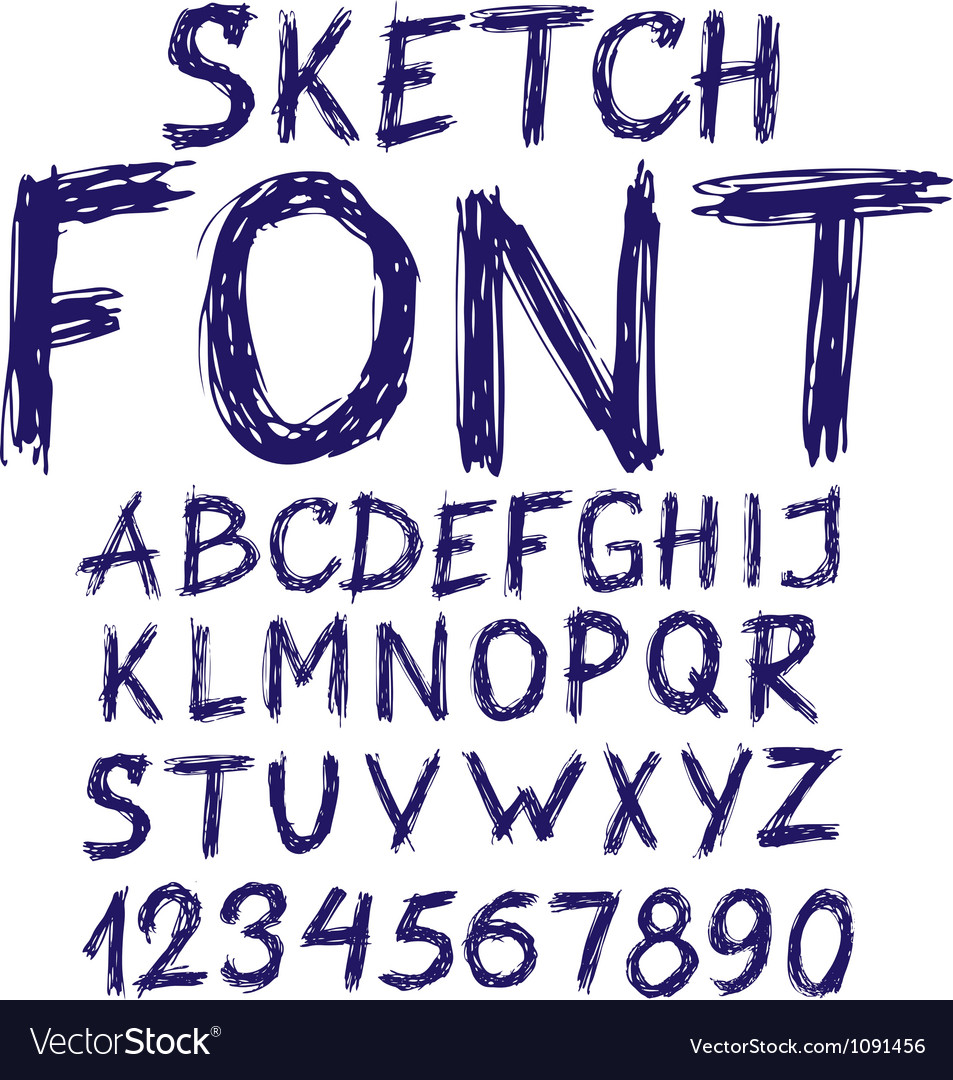 Handwritten blue sketch alphabet vector | Price: 1 Credit (USD $1)