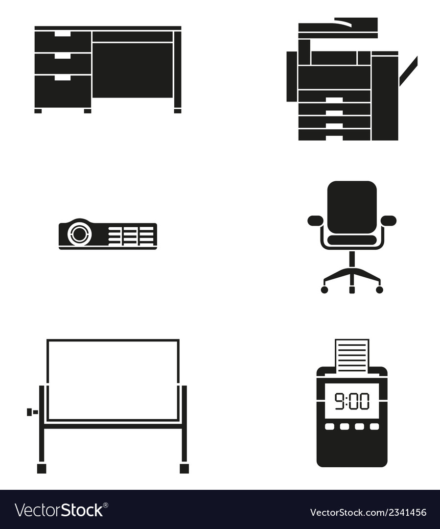 Office furniture and machine icon set vector | Price: 1 Credit (USD $1)